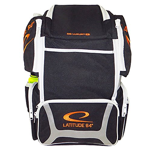 Latitude 64 DG Luxury E3 Backpack Disc Golf Bag (Black/Silver/Orange) by Latitude 64