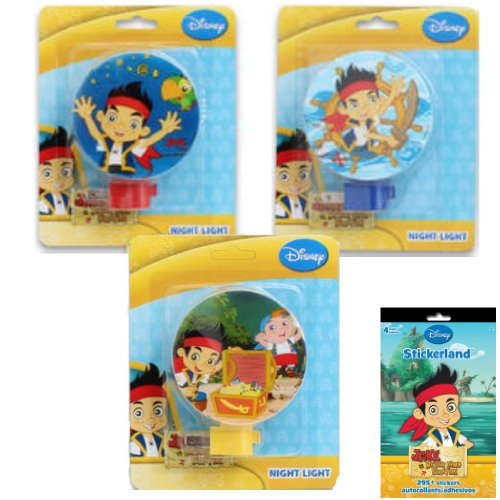 3-Piece Disney Jr. Jake & The Neverland Pirates Night Light Gift Set for Kids - 3 Jake And The Neverland Pirates Night Lights (3 Fun Designs) Plus 1 Pack of Jake Stickers -