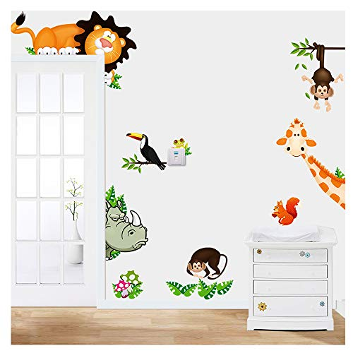 MLM Lovely Giraffe Monkey Rhinoceros Lion Zoo Zoological Ggarden Art Wall Stickers Decal for Nursery Home Decor Children Courtyard Baby Room -