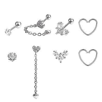 b9f73d984 Amazon.com: Fake Cartilage Earring Sweet Silver Heart Sets Surgical Steel  8pcs,16/20 Gauge Helix Ear Piercing Jewelry for Women: Jewelry