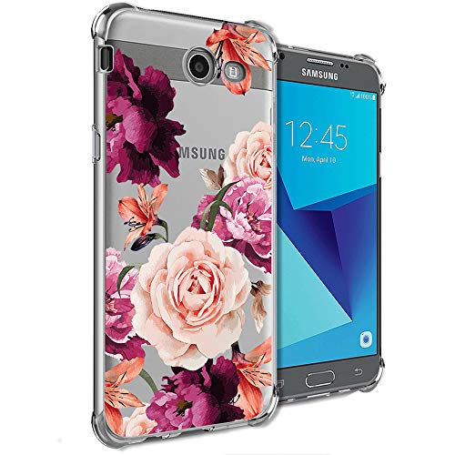Girly Case for Samsung Galaxy J7 Perx, J7 Prime, J7 Sky Pro, J7 V, Galaxy J7 2017 Clear with Cute Pink Flowers Design Shockproof Bumper Protective Cell Phone Cases for Girls N Women Soft Floral Cover