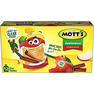 Mott's Cinnamon Applesauce, 3.2 Ounce Clear Pouch, 12 Count (Pack of 4), Perfect for on-the-go, Gluten Free and Vegan