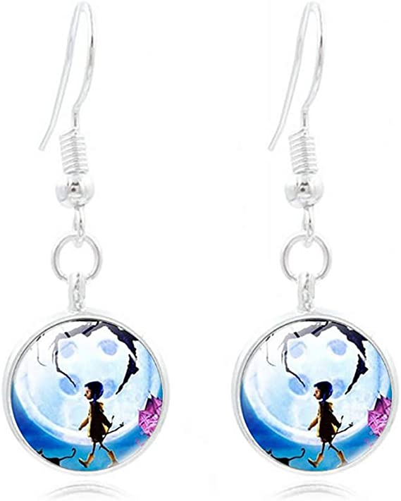 Amazon Com Wks Coraline Necklace Bracelet And Earring 3 Sets Movie Pendant Keyring Cosplay Jewelry Gift For Girls And Women Silver Medium Clothing