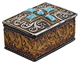 Western Scrolly Trinket Box - Tooled Leather & Turquoise Look, Rhinestone - Silver Look Top