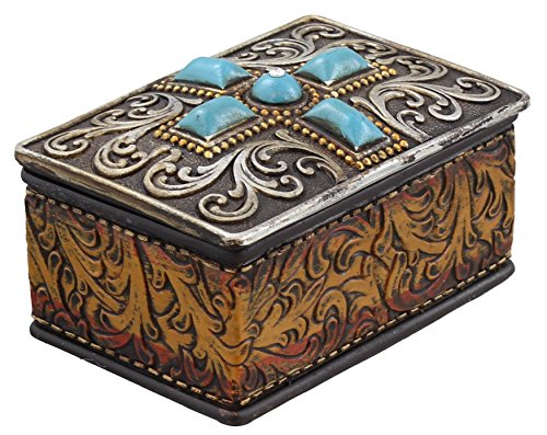 Western Scrolly Trinket Box - Tooled Leather & Turquoise Look, Rhinestone - Silver Look -