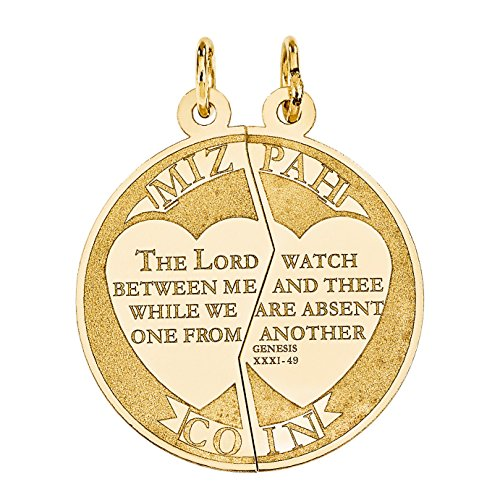 Two-Piece Mizpah Coin Pendant in 14K Gold