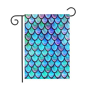 "Custom Print Design Fish Scales Purple Blue Garden Flags House Decor Yard Banner Outdoor/Indoor for Home - 28""W x 40""H"