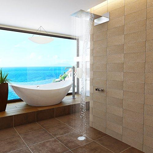 AURIGA Overhead Rain Shower | Wallmount | Dual Function | Waterfall + RAIN Shower | 600mm x 300mm Rectangle Shape | Silicon Nozzle Easy Clean System |