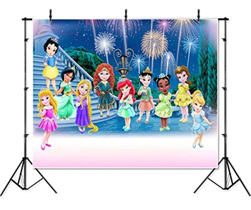 Newborn Backdrops for Photography Fabric 7x5 Princess Royal Event Backdrop Kit Firework and Castle Photo Background Happy New Year Backdrops