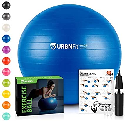 Stability Multiple Sizes URBNFit Exercise Ball Workout Guide /& Quick Pump Included for Fitness Anti Burst Professional Quality Design Balance /& Yoga