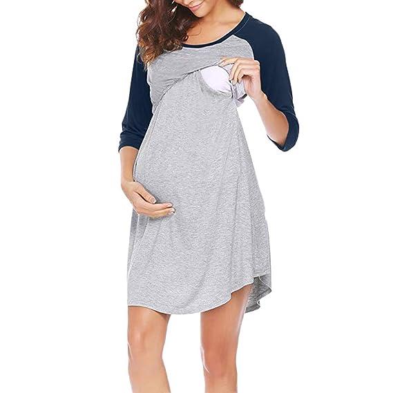 Premamá camisón Set Bata Embarazo Lactancia de Rayas Pijama ZARLLE Vestido de Lactancia Maternidad de Noche Camisón Mujeres Embarazadas Ropa de Dormir: ...