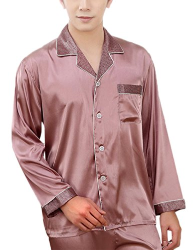 Coolmee Luxury Charmeuse Pajama for Men Thread Decoration Sleepcoat Suit