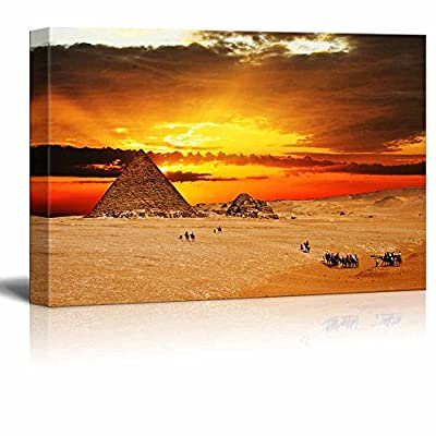Canvas Prints Wall Art - Camel Caravan Going Through Desert in Front of Pyramid at Sunset | Modern Wall Decor/Home Decoration Stretched Gallery Canvas Wrap Giclee Print & Ready to Hang - 32