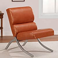 Rust Colored, Faux Leather Accent Chair, Beautiful Modern Waiting or Living Room Side Chairs with Brushed Silver Finish