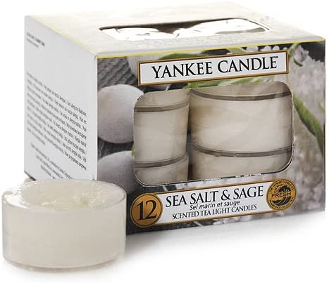 YANKEE CANDLE Tea Light Candele Profumate 12 Pezzi Sea Salt /& Sage Bianco Cera 8.8x8.5x6.3 cm