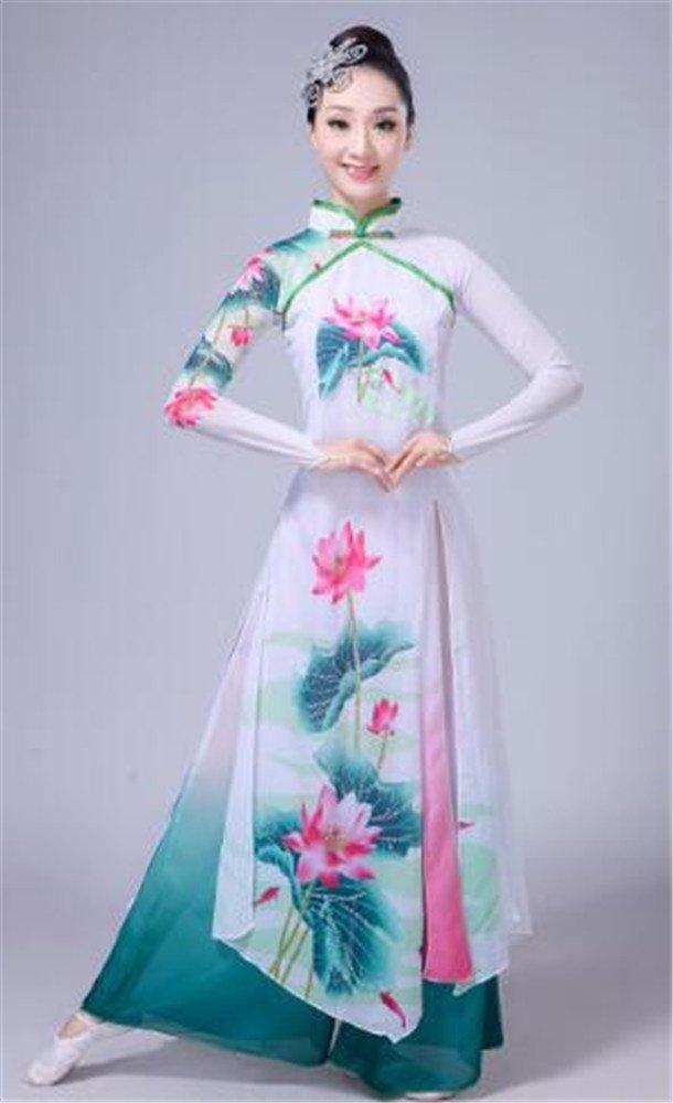 Vert peiwen Costume de Perforhommece de Danse de scène de Femme Set Classique Dance Dance Show National Dress Set XL