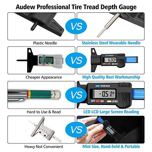 Audew Digital Tire Tread Depth Gauge - Digital Tire Gauge Meter Measurer LCD Display Tread Checker Tire Tester for Cars Trucks Vans SUV, Metric Inch Conversion 0-25.4mm by Audew (Image #6)
