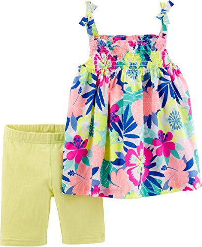 Carter's Baby Girls' 2-Piece Polka Dot Tank and Capri Legging Set (Floral/Yellow, 6 Months)