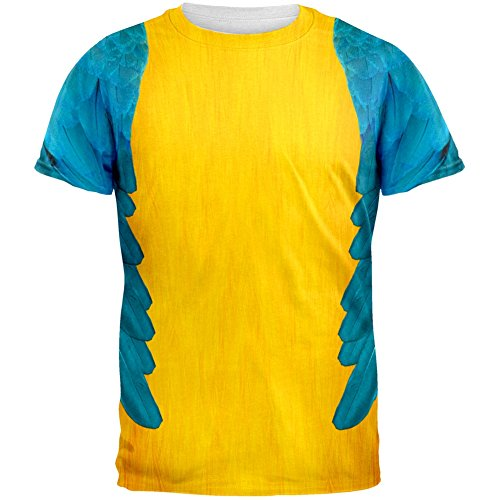 Literary Halloween Costumes - Halloween Blue & Yellow Parrot Macaw Costume All Over Adult T-Shirt - X-Large