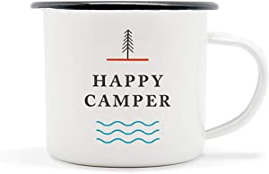 Happy Camper Enamel Camping Mug - White, 10 Ounce (295 ml), Eco-Friendly Camp Mugs Perfect For Hot Morning Coffee Or Cool Campfire Whiskey. (Two Unique Styles To Choose From. By Journo Travel Gear.) …