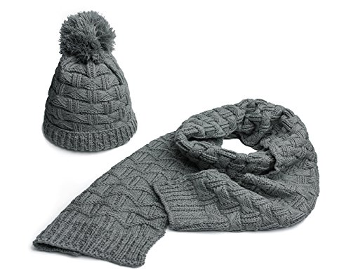 shion Winter Warm Knitted Hat and Scarf Set Skullcaps (Gray) ()