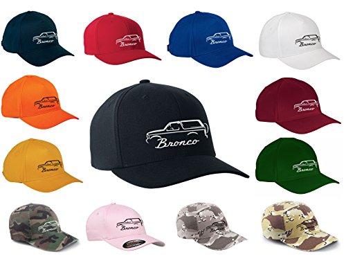 (1992-96 Ford Bronco Truck Classic Outline Design Flexfit hat cap large/xlarge black)