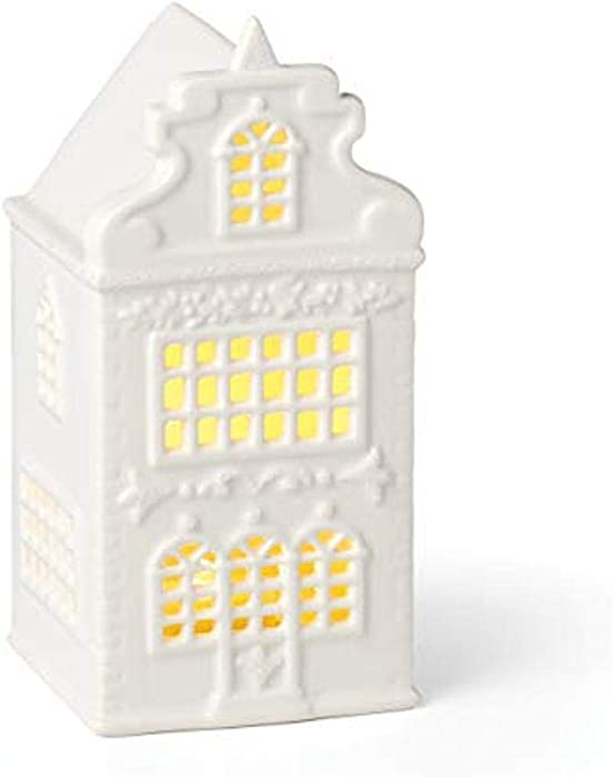 Lenox Light-Up Garland-Decorated House Figurine, 0.70 LB, Ivory