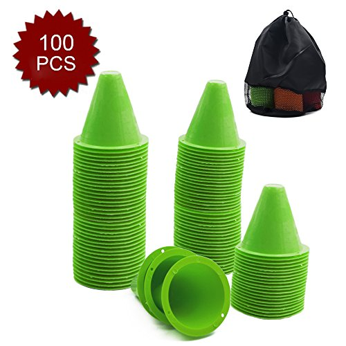 (GOGO 100Pcs 3.1 Inches PVC Bright-Colored Slalom Cones for Skating Running Marker Mini Track-Green)