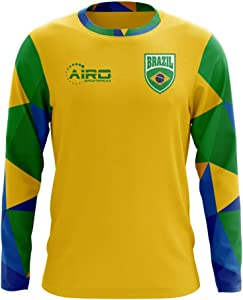 Airosportswear 2020-2021 Brazil Long Sleeve Home Concept Football Soccer T-Shirt Jersey (Kids)