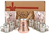CopperBull Premium Turkish Greek Coffee Espresso Full Set with Copper Pot, Cups, Coffee for 6 (Silver)
