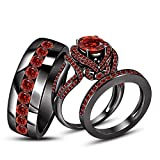 TVS- JEWELS Full Black Rhodium Plated 925 Sterling Silver Round Cut Gemstone Engagement Wedding Ring Set (Red Garnet)