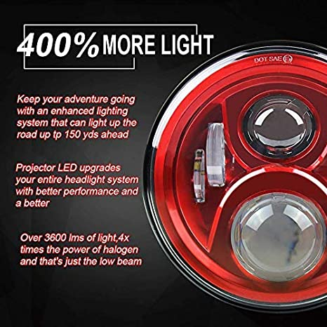 Universal 7inch Projectors LED Headlight For Motorcycle Car FJ Cruiser LandRover Defender