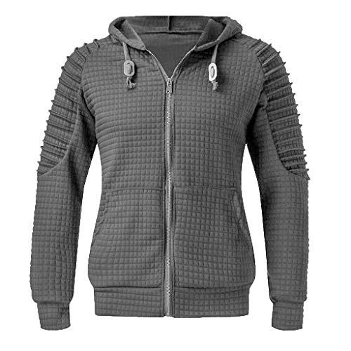 ANJUNIE Men Warm Pullover Zipper Open Hooded Sweatshirt Top Tee Outwear Active Coat(Dark Gray,S) (Spiderman For Nintendo 64)