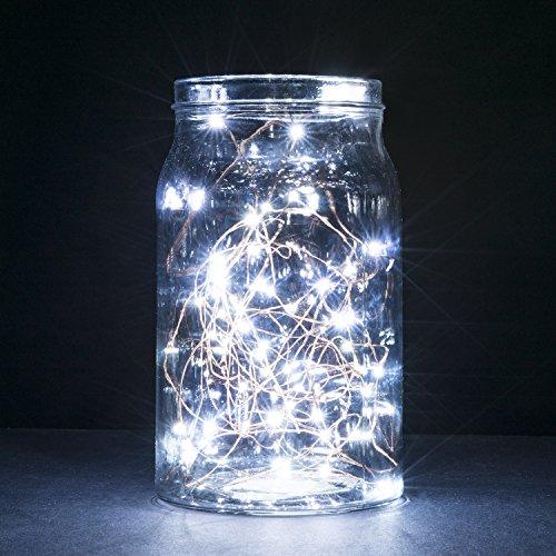 String Lights,Oak Leaf 2 Set of Micro 30 LEDs Super Bright Cool White Led Rope Lights Battery ...