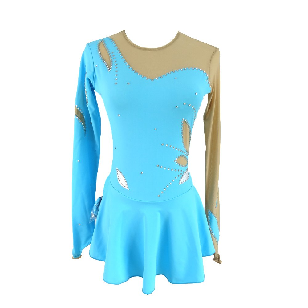 LIUHUO Blue Figure Ice Skating Dress Long Sleeves Roller Skating Dress Petal Deco