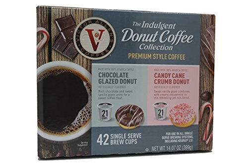 Victor Allens Donut Coffee K Cups Chocolate Glazed & Candy Cane Crumb (Variety Pack of - Mall Allen Stores