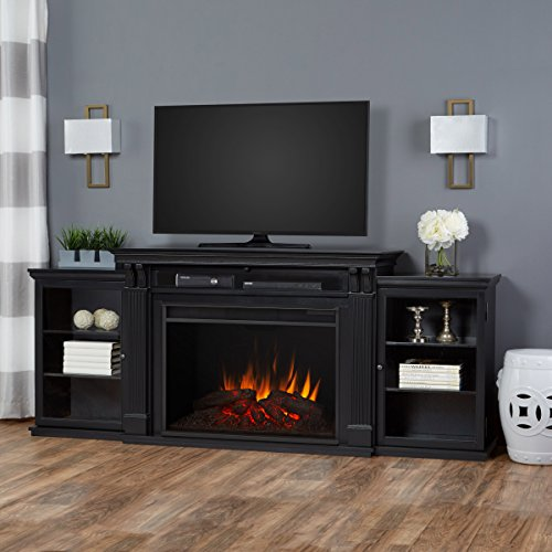 Large Entertainment Unit (Real Flame 8720E-BLK Tracey Grand Entertainment Unit with Electric Fireplace, Large, Black)