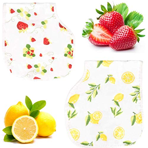 Bambi Bamboo Muslin Burp Cloth Bib Set - Lead Free Snaps, Adjustable, Super Absorbent & Soft - 2 Pack of Strawberry Lemon Prints - Perfect Unisex Baby Registry Shower Gift ()