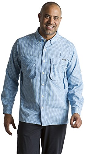 Lapis Blue Check - ExOfficio Men's Air Strip Check Plaid Long-Sleeve Shirt, Light Lapis, Medium