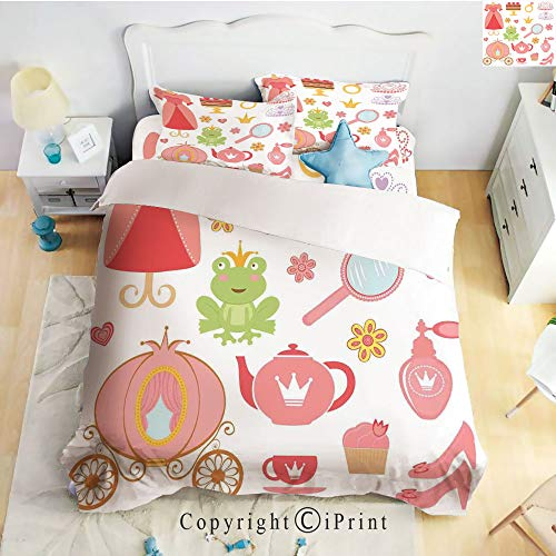 Homenon Deep Pocket Bed Sheet Set,Princess Tiara Tea Party Mirror Teapot Tea Party Frog Crown Fairy Cupcake Girls Decorative,Queen Size,Wrinkle Fade Resistant,4-Piece Set ()