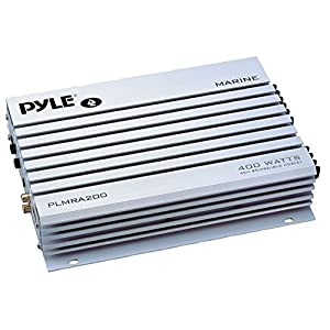 Pyle Hydra Marine Amplifier - Upgraded Elite Series 400 Watt 2 Channel Bridgeable Audio Amplifier - Waterproof, Dual MOSFET Power Supply, GAIN Level Controls, RCA Stereo Input & LED Indicator (PLMRA200)