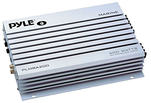 Pyle Hydra Marine Amplifier - Upgraded Elite Series 400 Watt 2 Channel Bridgeable Audio Amplifier - Waterproof,  Dual MOSFET Power Supply, GAIN Level Controls, RCA Stereo Input & LED Indicator (PLMRA200) by Pyle