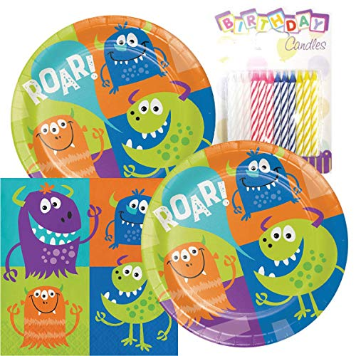 (Fun Monsters Party Theme Plates and Napkins Serves 16 With Birthday Candles)