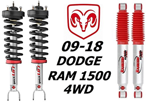 Rancho Suspension QuickLIFT Loaded Strut and Rear RS9000XL Shocks For Dodge Ram 1500 4WD 2009-16 ()