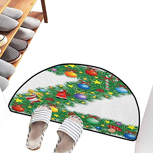 Axbkl Thin Door mat Letter Z Traditional Themed Font Design Z with Colorful Ornaments Christmas Santa Claus Machine wash/Non-Slip W31 xL20 Multicolor