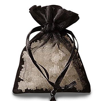 Amazon.com: Color negro Organza favor bolsas 4