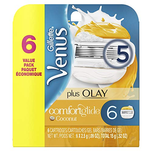 Gillette Venus ComfortGlide plus Olay Coconut Women's Razor Blades - 6 Refills (Packaging May Vary)