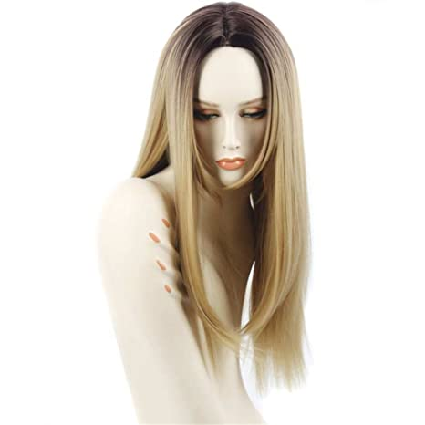 Larga recta pelo dos tonos negro y Rubio Ombre peluca resistente al calor de raíces oscuro