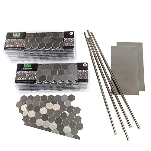 Aspect Peel and Stick Backsplash Honeycomb Stainless Matted Metal Tile for Kitchen and Bathrooms (Approx 15 Sq Ft Kit)