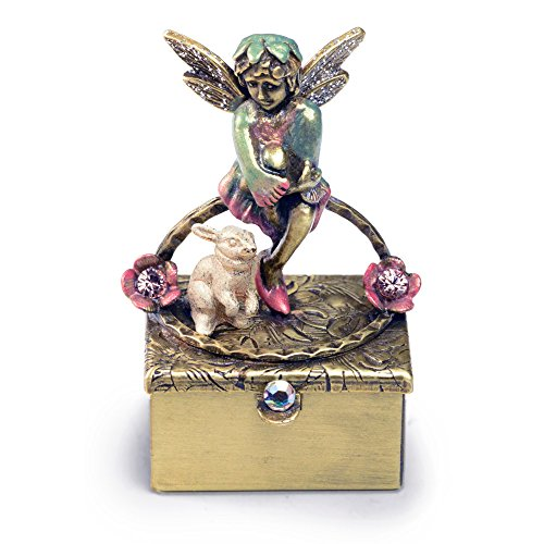 Sweet Romance Pixie Fairy Keepsake Box, Miniature Tooth Fairy Box, Trinket Box, Baby Keepsake (Bronze)